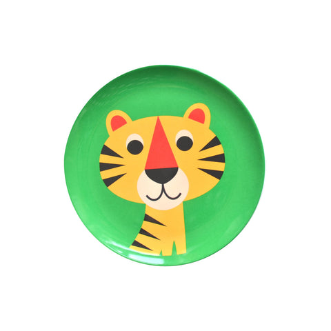 Melamine Tiger Plate, designed by Ingela P. Arrhenius for OMM Design and available at Bobby Rabbit.
