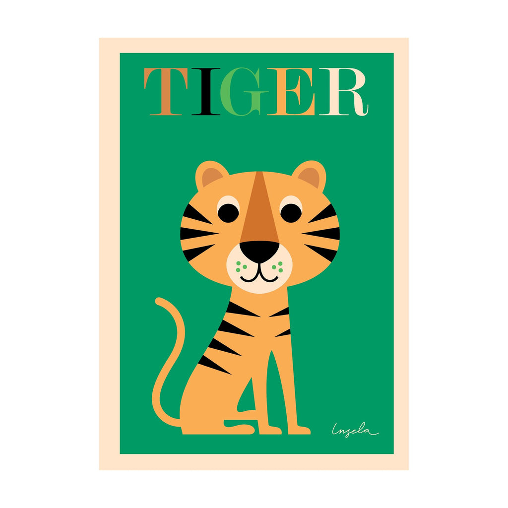 Tiger poster for children's rooms, designed by Ingela P. Arrhenius for OMM Design and available at Bobby Rabbit.