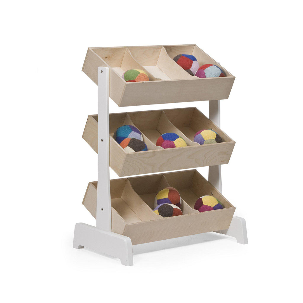 Stunning children's toy storage solution, designed and made by Oeuf NYC and available at Bobby Rabbit.