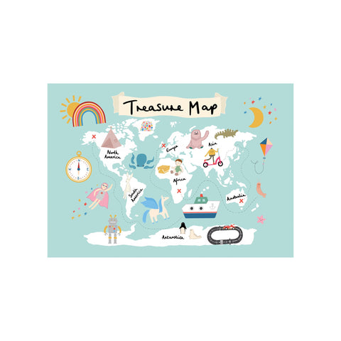 Treasure Map A3 Print - Sea Green by Kid Of The Village, available at Bobby Rabbit.