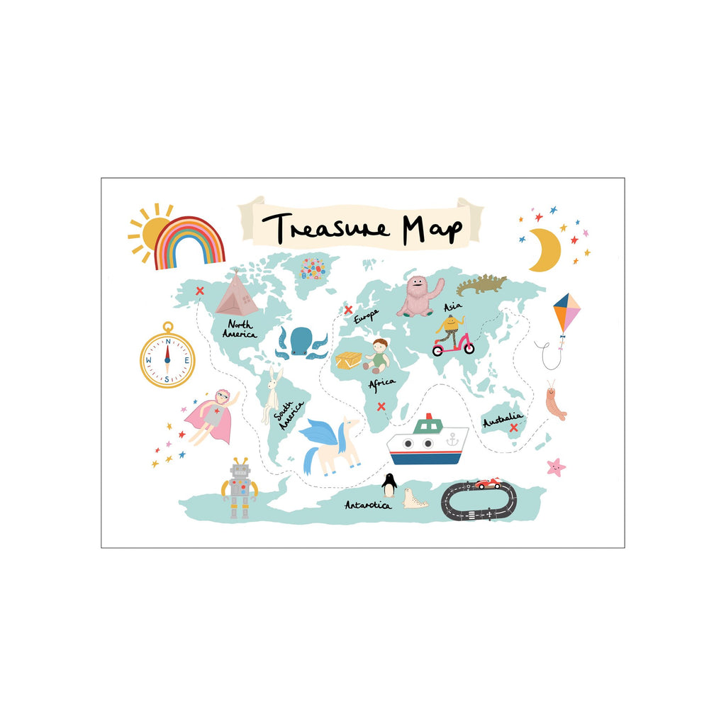 Treasure Map A3 Print - White by Kid Of The Village, available at Bobby Rabbit