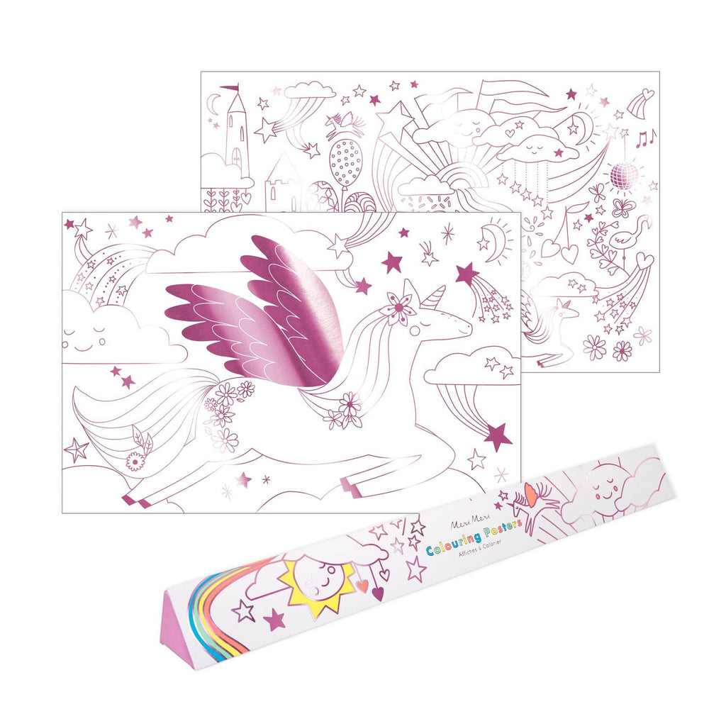Unicorn Colouring Poster Set by Meri Meri, available at Bobby Rabbit.