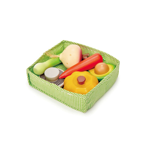 Veggie Crate Pretend Food Wooden Toy by Tender Leaf Toys, available at Bobby Rabbit.