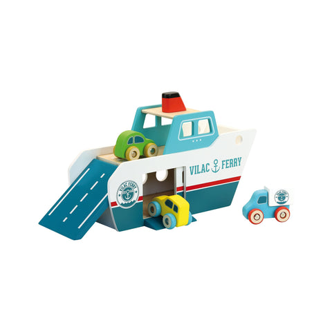 Wooden Ferry Boat Toy by Vilac and available at Bobby Rabbit.