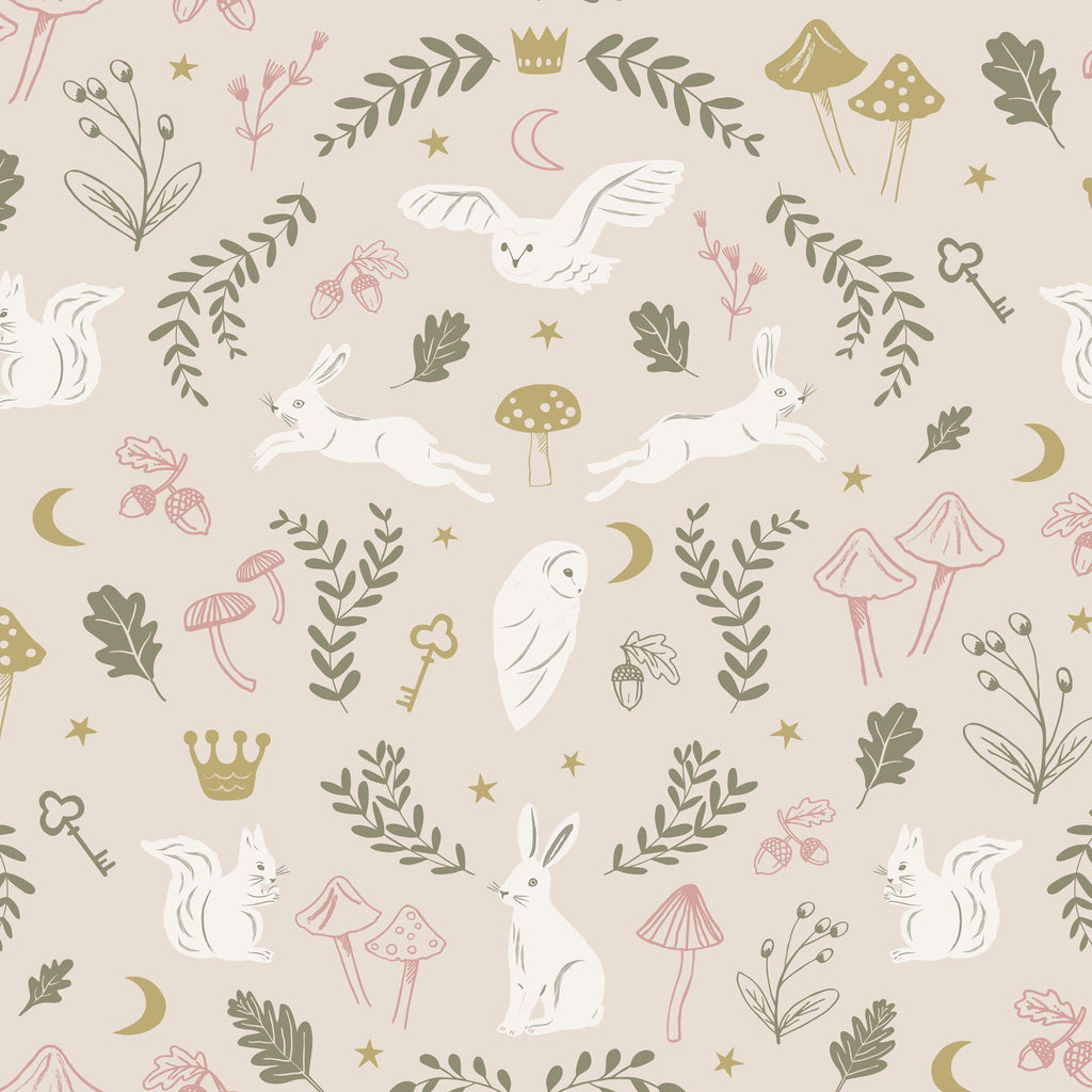 Woodland Wonders Wallpaper - Dusty Pink/Olive by Hibou Home, available at Bobby Rabbit.