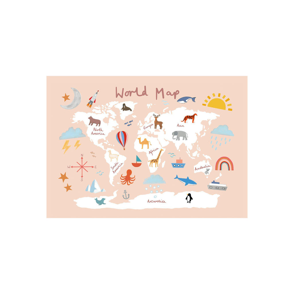 World Map A3 Print - Pink by Kid Of The Village, available at Bobby Rabbit.