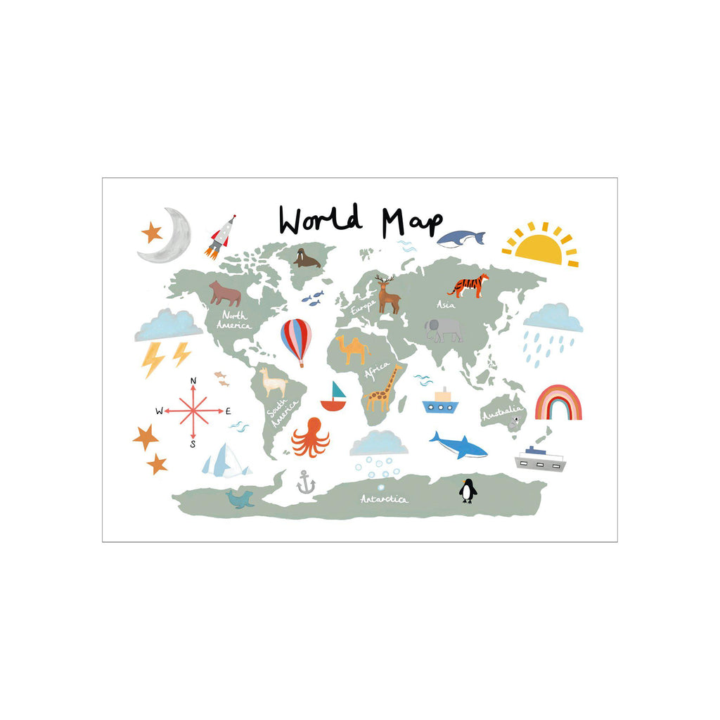 World Map A3 Print - White by Kid Of The Village, available at Bobby Rabbit.