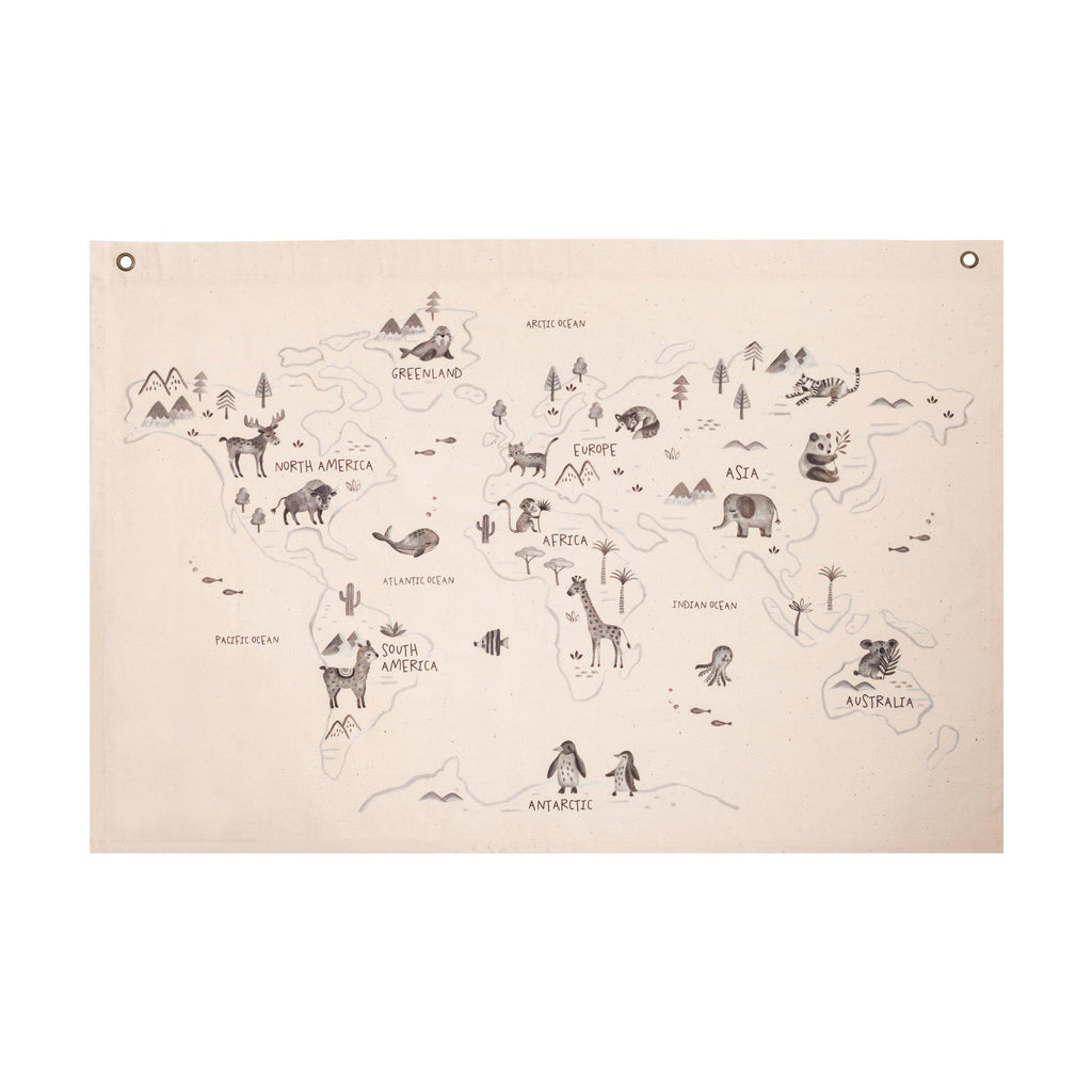 World Map Wall Hanging by Rose in April, available at Bobby Rabbit.