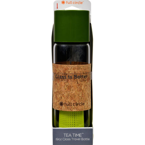 Full Circle Home Tea Bottle - Travel - Glass - Tea Time - Sencha Green - 19 Oz