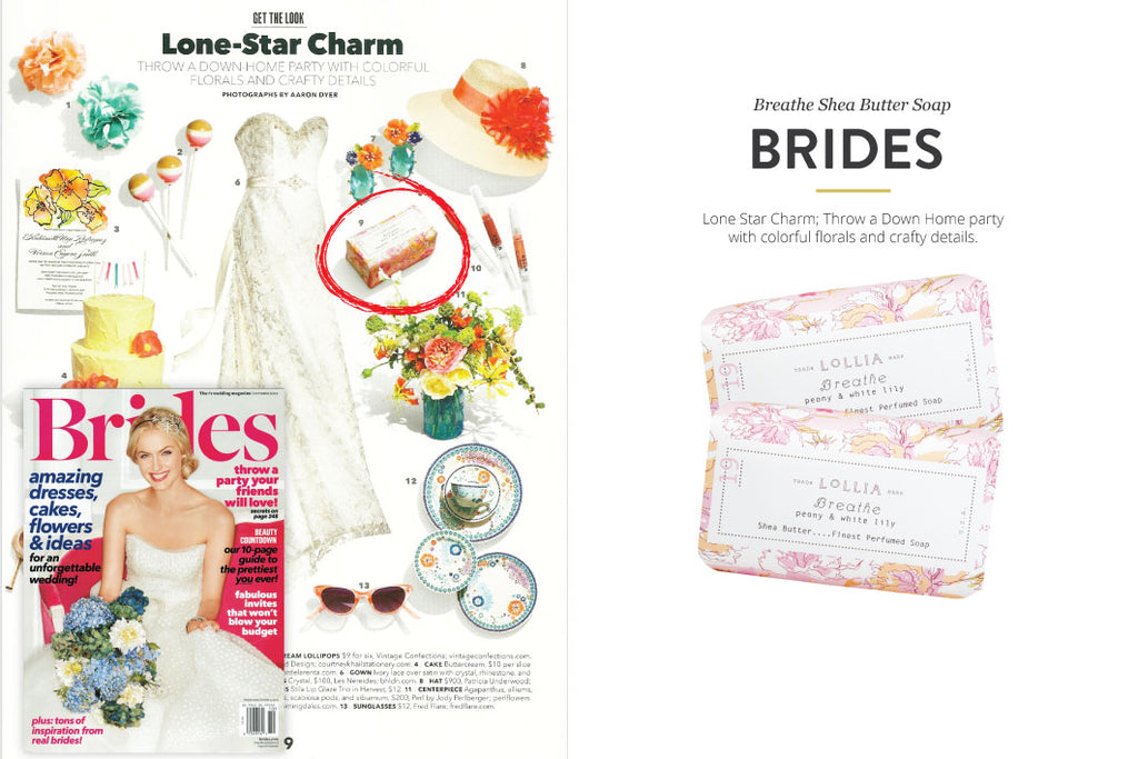 Brides Magazine featuring Breathe Shea Butter Soap