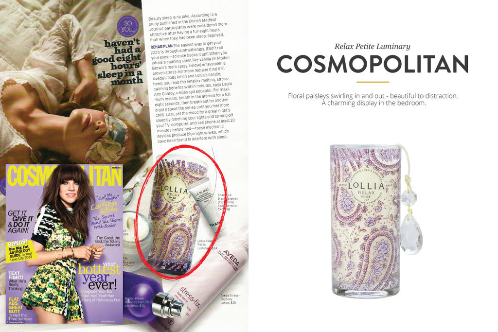 Cosmopolitan Magazine featuring candle