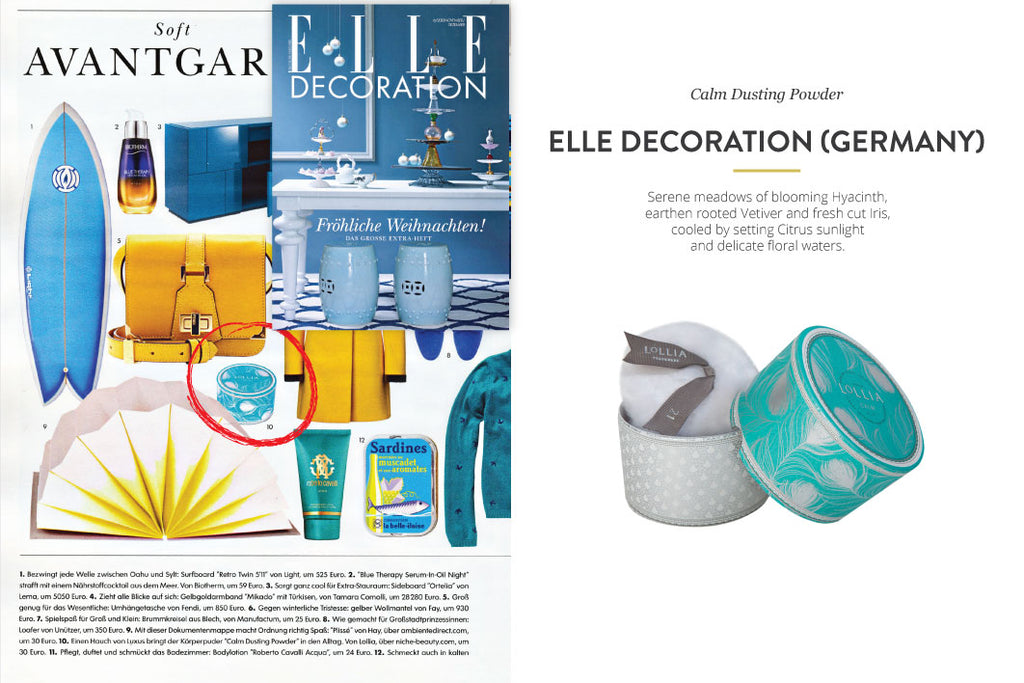 Elle Decoration Germany Magazine featuring Calm Dusting Powder