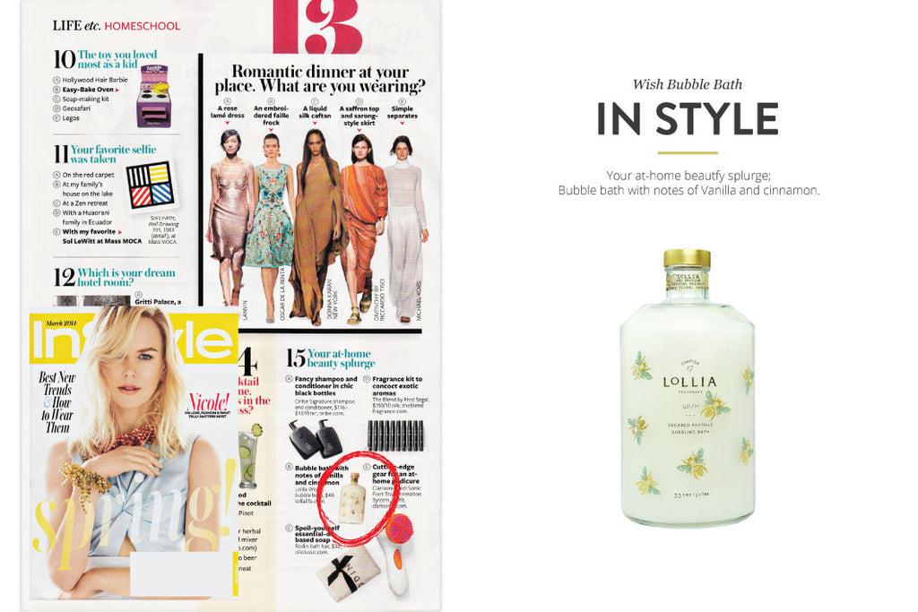 In Style Magazine featuring Wish Bubble Bath