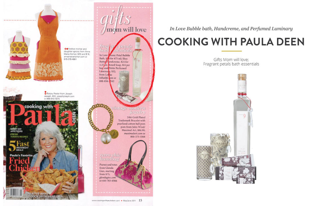Cooking with Paula Deen Magazine featuring In Love Bubble Bath, Handcreme, and Perfumed Luminary
