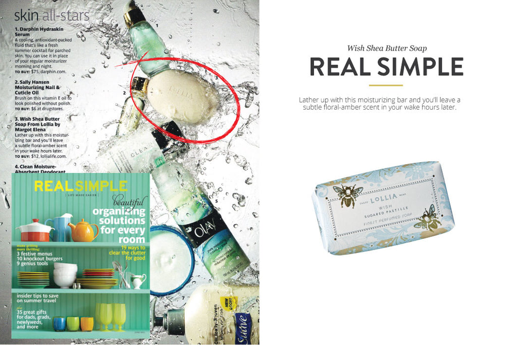 Real Simple Magazine featuring Wish Shea Butter Soap