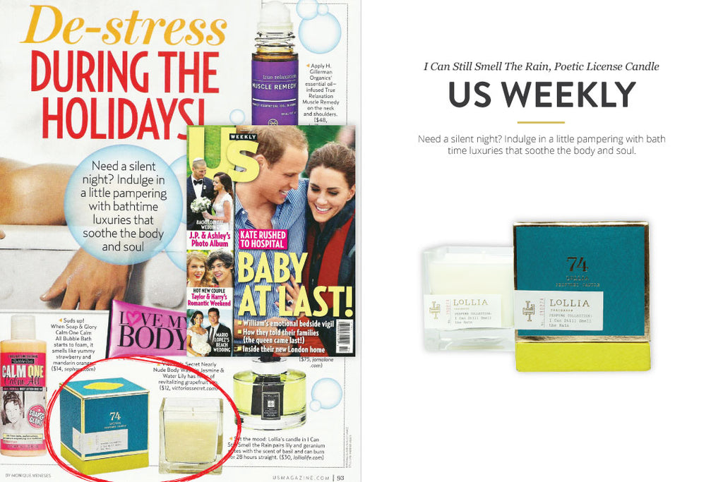 US Weekly Magazine featuring I can still smell the rain Poetic License Candle