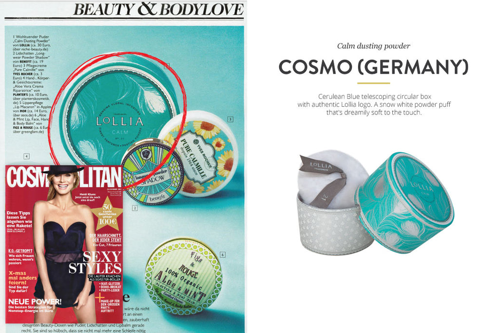 Cosmopolitan Magazine featuring Calm Dusting Powder