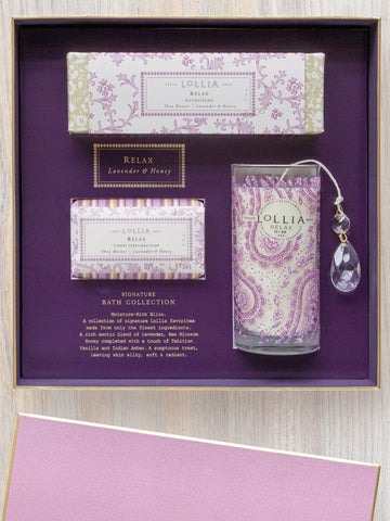 Relax Gift Box Set featuring Shea Butter Hand Cream, Shea Butter Soap, and Candle