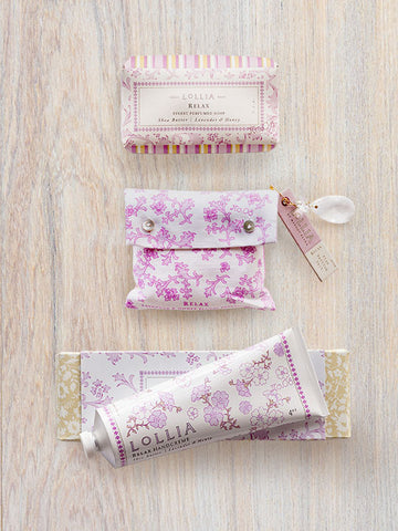 Relax Trio | Bath Salt, Shea Butter Hand Cream & Bar Soap | Lollia