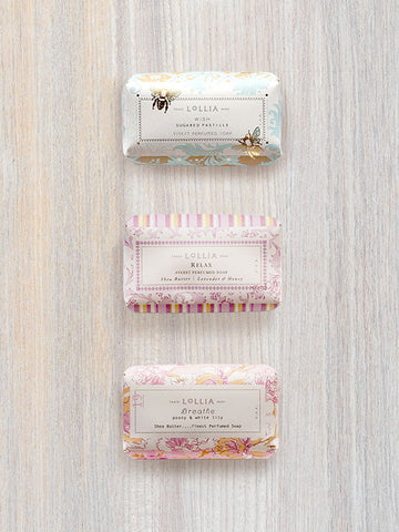 Luxury Shea Butter Bar Soap Trio: Wish, Relax & Breathe | Lollia
