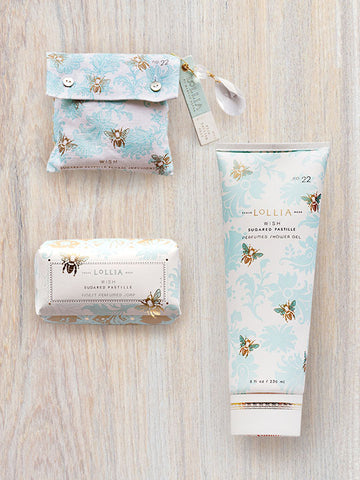 Wish Shea Buttter Soap, Bath Salt Sachet & Shower Gel