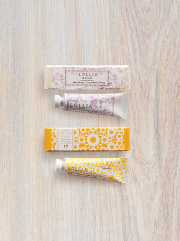 At Last & Relax Perfumed Petite Shea Butter Hand Cream Pairing |Lollia