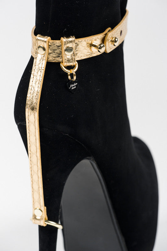 Golden Python Heel Restraints by Fräulein Kink