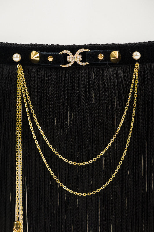Josephine Skirt - Double Draped Gold Plated Chain & Tassels