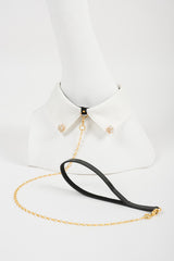 Blanc Satin Collar with Detachable Patent Leather Leash
