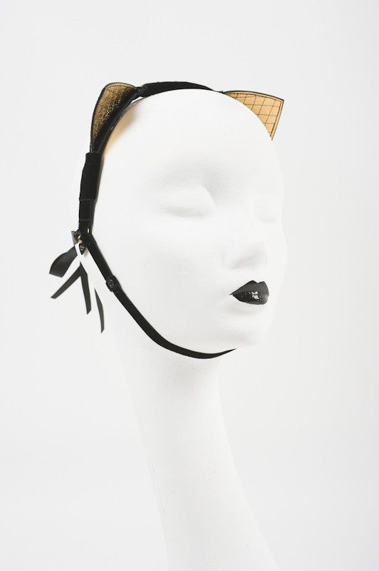 Quilted Patent Leather & Gold Kitten Ears