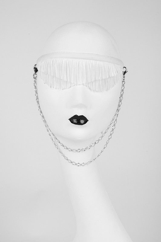 White Wedding Blindfold - Gold or Silver Plated Metal Trim