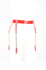 Rica Chain Garter Belt in Red Patent Leather by Fraulein Kink