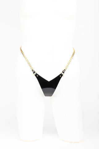 Rica Mini String in black and gold by Fraulein Kink