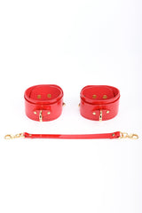Roja red patent leather handcuffs by from Fraulein Kink