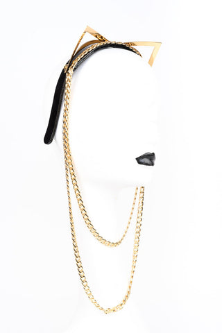 24K gold kitten headband with cat ears and chain