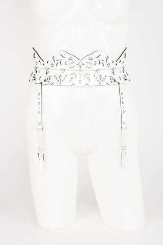 Luxury Patent Leather Garter Belt and Suspenders with Crystal Rivets Buy Online at Fraulein Kink