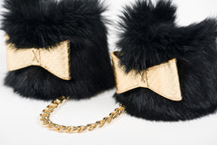Black and Gold Fur Handcuffs