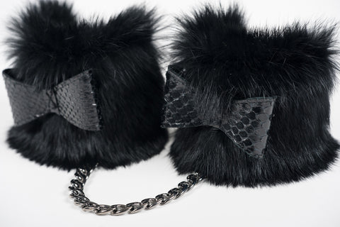 Custom Ebony Fur Handcuffs
