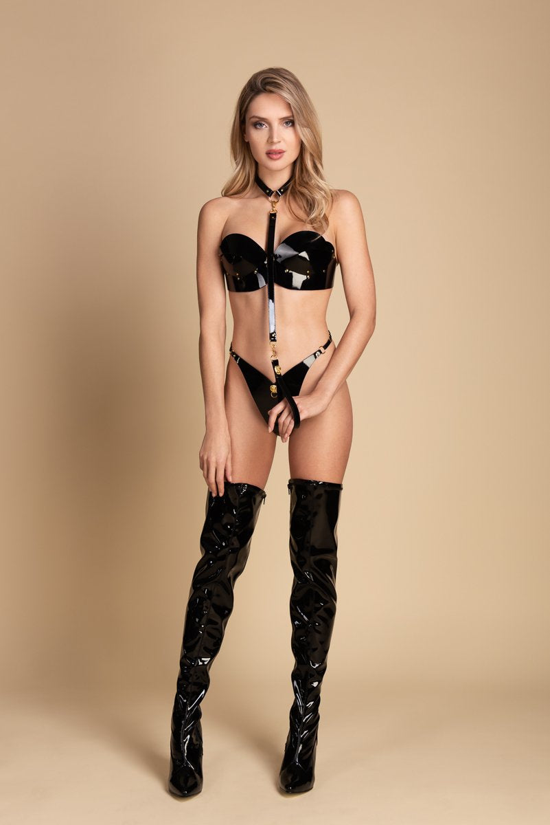 Fraulein Kink Black Patent Leather T-Strap With Lion Buy Online