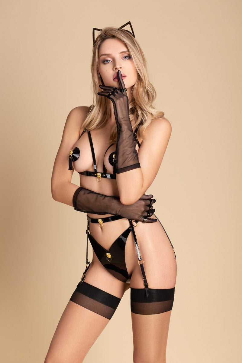 Fraulein Kink Black Patent Leather String With Lion Buy Online