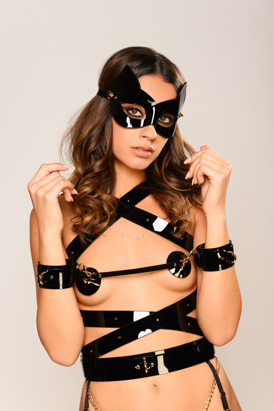 Rica Molded Kitten Mask in Black with gold spikes by Fraulein Kink