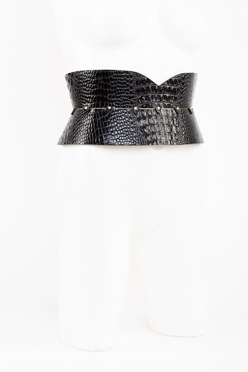 Buy Fraulein Kink Black Leather Crocco Belt With Garters Online