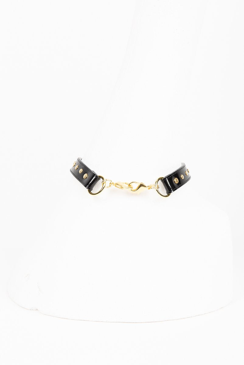 Buy Fraulein Kink Online. Patent Leather Choker with Gold Rivets.