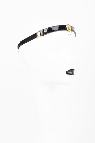 Fraulein Kink Black Patent Leather Headband With Lion Online