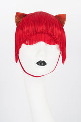 Stitched Red Patent & Gold Leather Kitten Ears