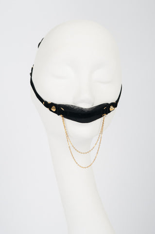 Black & Gold Tulle Mouth Gag
