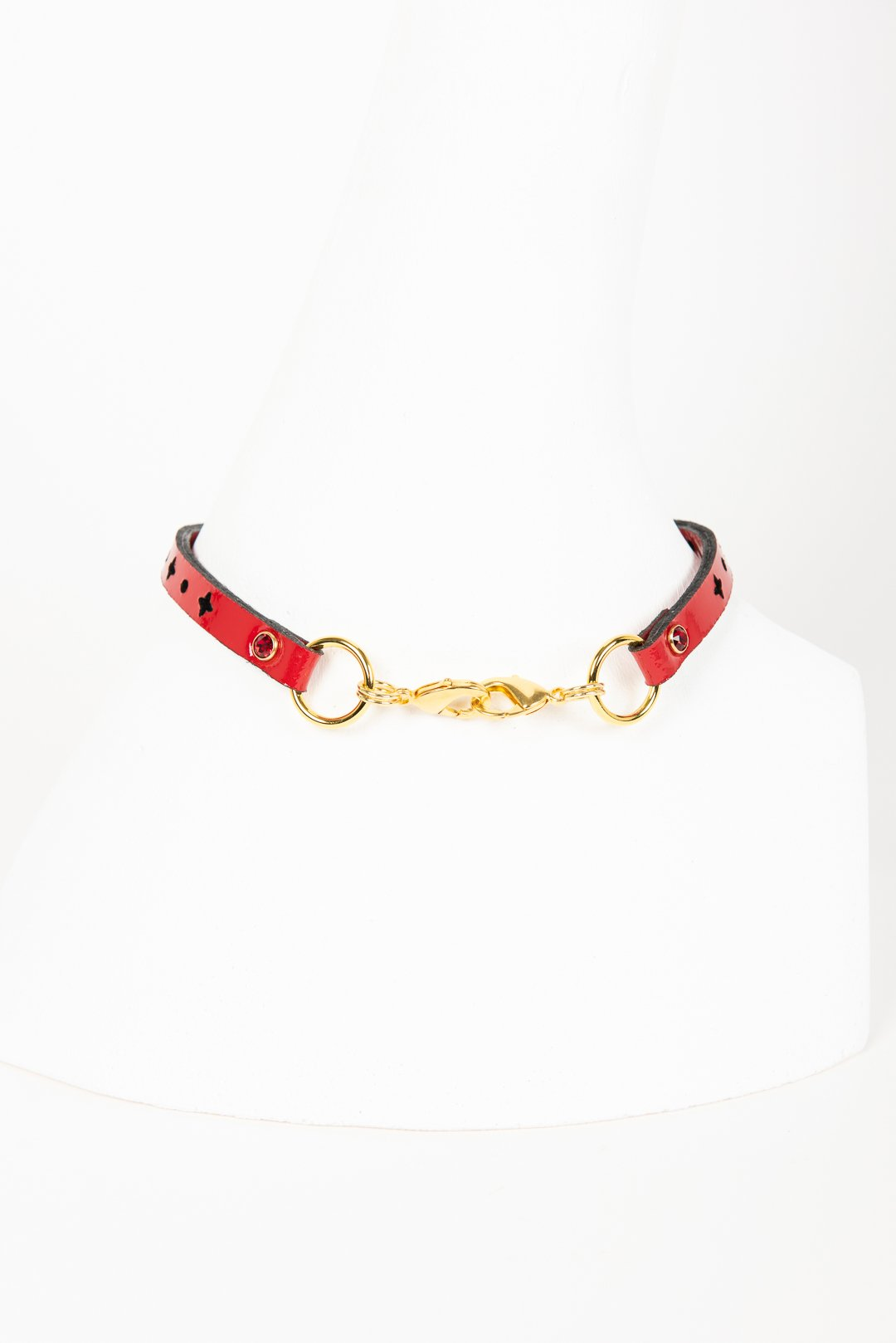 Luxury Patent Leather Roasary Choker with Crystal Rivets Buy Online at Fraulein Kink