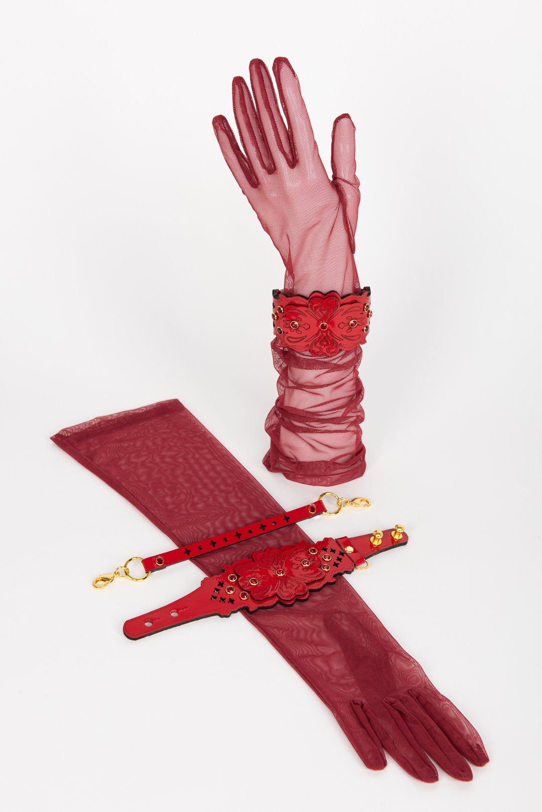 Red Tulle Gloves with Patent Leather Restraints buy online at Fraulein Kink