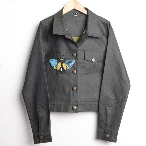 Fire - Women's Short Denim Jacket With Hand Embroidery - RDKLU#2