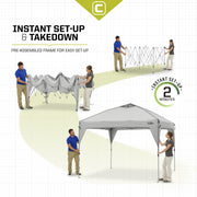 Core Equipment 10x10 Instant Canopy Setup series showing 2 minute setup